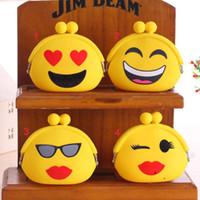 Wholesale Hot Emoji Silicone Hasp Coin Purse Lovely Mini Cartoon QQ Emotion Wallet Money Bag Women Key Headphone Pouch Pocket Children Kids Gifts