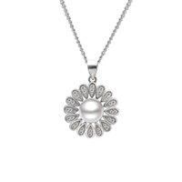 Pendentif en argent sterling élégant et élégant avec perle d'eau douce, tournesol, bijoux cadeaux à gros gros, PS03878