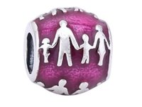 Wholesale 925 Silver Love Family Sterling Silver Red Enamel Charm Threaded Bead For Bracelets