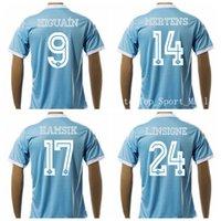 2016 camisas de Nápoles Camisetas de fútbol 9 Higuaín 14 MERTENS 17 HAMSIK 24 L.INSIGNE fútbol casero Jersey azul personalizada la calidad de Tailandia