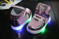 Wholesale New Arrival Led Lighter Shoe Kitty Design Colors Casual Lighter Shoe Size Pairs Works By Battery UX7321