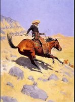 art cowboys - Frederic Remington the cowboy horseman Genuine Handpainted Portrait Art Oil Painting On Canvas in customized size accepted
