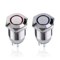 Wholesale Angel Eye Metal LED illuminated Momentary mm Push Button Switch Car Dash V Ring Light Blue Switch Self Latching Waterproof