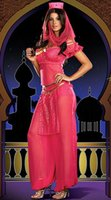 aladdin pink - New Arrival Classic Woman Arabian Nights Sexy Chiffon Full Sleeve Fancy Dress Aladdin Lamp Costume Pink W8912