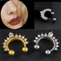 Wholesale 1pc Fake Clip On Non Piercing Rhinestone Septum Nose Ring Faux Click C00066 FSH