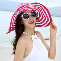 Wholesale Women Wide Large Brim Hats Summer Beach Sun Beach Hat Foldable Stripe Hat Caps