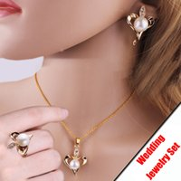 Wholesale Top Quality Fashion K Gold Plated Pearl Wedding Anniversary Gift Jewelry Sets for Women Crystal Necklaces Ring Earrings Set