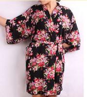 Wholesale New Floral Women Wedding Bridal Kimono Robe Flower Satin Silk Lady Spa Night Dress