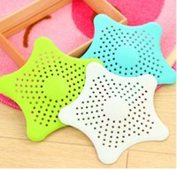 Wholesale 1pcs Star Shape Floor Drain Rubber Cute Five stars Bathroom Shower Drain Cover Hair Stopper Catcher Sink Starfish Strainer Sewer Filter