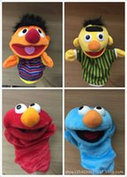 Wholesale new Hand puppet Animation Cartoon cm Purple red blue green Even finger Plush Christmas kids toys