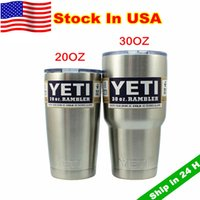 cup - Stock In USA Yeti Cups YETI oz oz Rambler Tumbler Travel Vehicle Beer Mug Double Wall Bilayer Vacuum Insulated Stainless Steel
