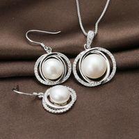 Ensemble de bijoux en argent massif, deux cercles Ensembles de perles d'eau douce à conception simple, meilleurs cadeaux pour la mère - SE00205