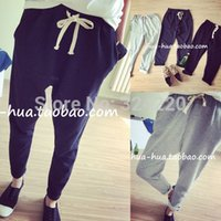 Wholesale 2 Colors In Stock New Sport Pants Loose Casual Pants women Or Man Pants Harem Pants With Straps
