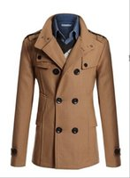 ah plus - Fall autumn winter cashmere overcoat men medium long double breasted woolen trench coat plus size outerwear AH