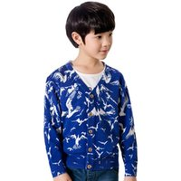 Wholesale Autumn boy child cotton Active printed cardigan sweater knitted children sweater
