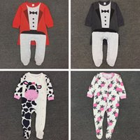 Wholesale cloak cows girls boys unisex long sleeve contton bodysuits children One Pieces baby jumpsuit child rompers kids wear clothing