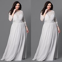 Wholesale Cheap Formals China - Charming 2016 Silver Lace 3 4 Long Sleeve Plus Size Evening Dress Chiffon Cheap Jewel Pleats Long Formal Gowns Custom Made China EN7191