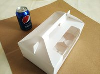 Wholesale 100pcs cm grid White cardboard Paper Muffin window Box with Handle For Candy Cake Dessert party Packing boxes