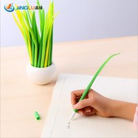 Wholesale 5 Pack Tiny Green Grass Gel Pen Blade Grass Potting Decoration Zakka Stationery Caneta Office Supplies Material School