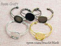 bezel ring settings - 25mm Round Cuff Bracelet Blank Bangle Bracelet Base Cabochon Bezel Bracelet Settings fit mm glass Cabochon