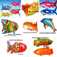 balloon animals fish - The fish shaped balloon cute animal cartoon aluminum foil helium balloons automatic seal Baby Kids Toys Birthday Party Decoration