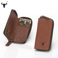 Wholesale Top Grain Leather Key Wallets High Quality Cowskin Man Key Bag Woman Key Case Casual Key Package Vintage Cowhide Key Holder
