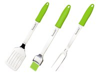barbecue lights - SUNNECKO Stainless Steel BBQ Tool Set Spatula Fork Brush Green Handle PP TPR for Outdoor Camping BBQ SU GR