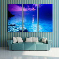 beach decor for the home - 3 Picture Combination canvas wall art Fantasy Purple Sunset Beach Painting The Picture Print On Canvas landscape For Home Decor