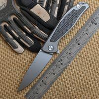 Wholesale shirogorov Green thorn F95 Flipper folding knife bearing D2 blade TC4 Titanium handle outdoor camping hunting pocket fruit knife EDC tools