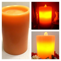 Wholesale 8pcs Use for home decoration rechargeable Lithium Battery orange color real wax flameles led candle fountain with timer DHL