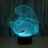 Wholesale Genuine The Smurfs LED Light Night Light D Colour Desk Light Acrylic Touch W V USB Plug Retail Package