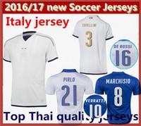 Soccer Men Short Top Thai quality 2016 Italy Home blue Soccer jersey 2017 Italia ZAZA INSIGNE EL SHAARAWY PIRLO VERRATTI MARCHISIO Away white Football shirt
