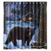 bear shower curtains - Custom Winter Bear Print x180cm Waterproof Fabric Bathroom Shower Curtain With Curtain Hook
