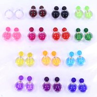 ball exchange - Wholesales New Fashion Lovely Colors Alloy Candy Ball Stud Earrings Jewelry exchanging gifts