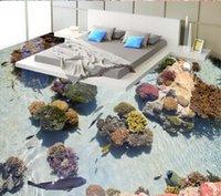 bags seaweeds - Custom mural wallpaper D stereo waterproof floor living room bathroom kitchen PVC seaweed deep self adhesive bag mail floor mural wallpaper