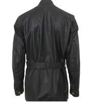 belted jacket men - 2016 Designer men waxed jacket square big pockets outdoor motocycle sport casual jacket enfold front with belt
