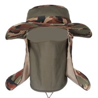 Wholesale Insect Proofing Camouflage Bucket Hats army Mens Fishing hat Tactical Boonie Hats outdoor topee One Size for