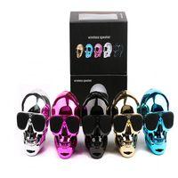 fm bluetooth sunglasses - Newest High quality NFC sunglasses Skull Heads wireless bluetooth speaker mega bass speakers wirh TF FM and Hands Free Calls Free DHL
