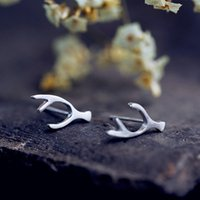 Wholesale S925 Sterling Silver Earrings antlers female guardian in Tremella nail personality drawing JZ00001