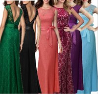 Wholesale 2016 new European sexy lace maxi dress solid color sleeveless Hollow Out Runway Dresses sexy halter Evening dress Slim