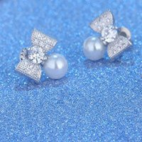 Wholesale 2016 new arrival Stud earrings of women fashion pearl gem The wedding Birthday party