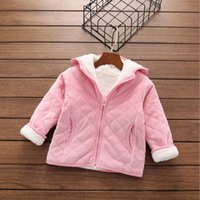 Wholesale Solid color hooded Jacket thickening casual zipper for baby girls children kids autumn winter clothes Outwear