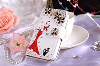 Para Samsung S5 / S6 Lujo Diamond Phone Case Cartera Flip Stand mujeres Rhinestone Belleza y Cat / Diagonal Flor / Imperial Crown / Pearl Flower