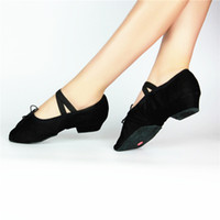 Wholesale Female teacher canvas shoes with soft bottom with heel dance shoes dance practice shoes ballet shoes