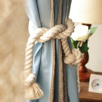 bag lining curtains - 2pcs cm x cm Thick lines twisted decorative cord foot Cotton natural rope bags curtain buckle straps tying a group of