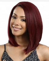 Wholesale 2016 hot sale burgundy Straight long Bob Lace Front Wig Natural Heat Resistant Hair Ombre Wigs