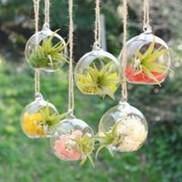 Wholesale 2016 Wedding Creative Hanging Glass Vase Succulent Air Plant Display Terrarium Small Hanging Glass Vase Air Plant cm Gift L21
