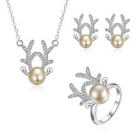 Wholesale 925 Silver Plated Pendant Necklace Earrings Rings Sets Women s Jewelry Sets Fashion Jewelry Cute Deer Horn Bamboo Sunflower Shape