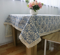 Wholesale SF_EXPRESS send Retro Blue and white porcelain Chinese classical linen table cloths table cover factory price