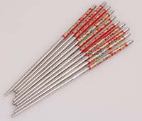 Wholesale New Arrival High Quality Pair Set Elegant Flower Print Stainless Steel Chopsticks For Home Restaurant